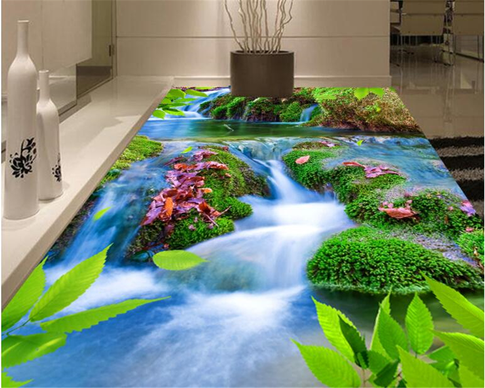 beibehang Fashion personality pvc wallpaper original ecological stream waterfall 3d floor three-dimensional painting background rudi hilmanto local ecological knowledge
