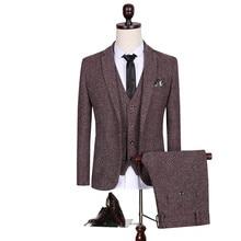 (Jackets+vest+Pants) 2017 new spring Men's wool Single Button casual suit men,blazer wedding dress,fashion Business Suits XF069