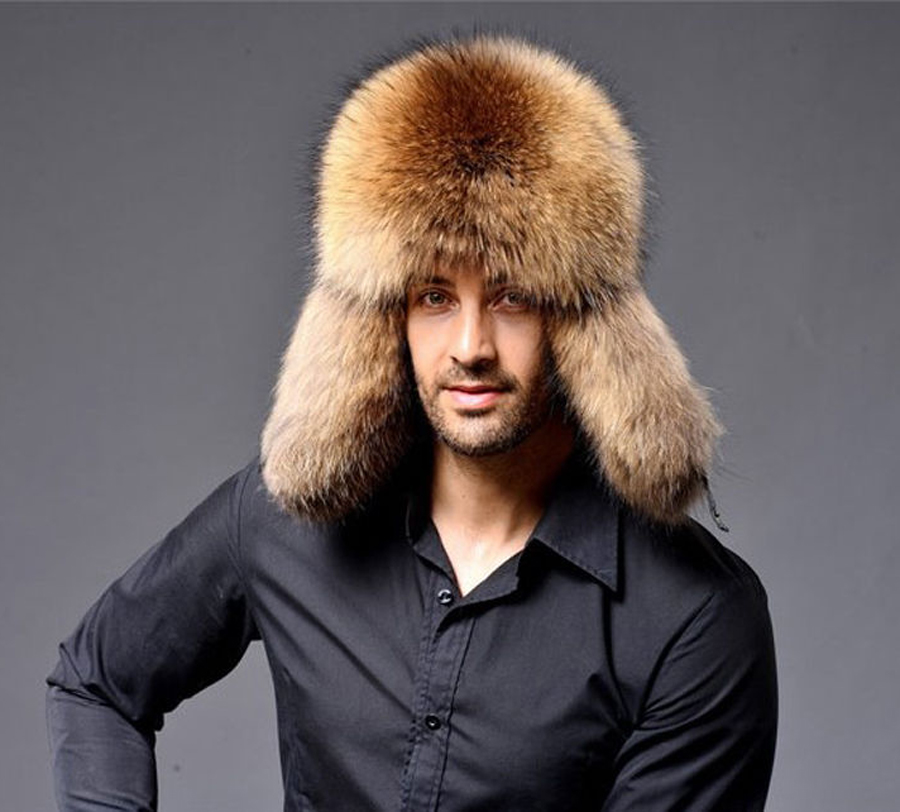 TRUPPER FOX RACCOON FUR FUR HAT LEATHER REAL MES'S Ushanka SHAPKA - Aksesorë veshjesh - Foto 2