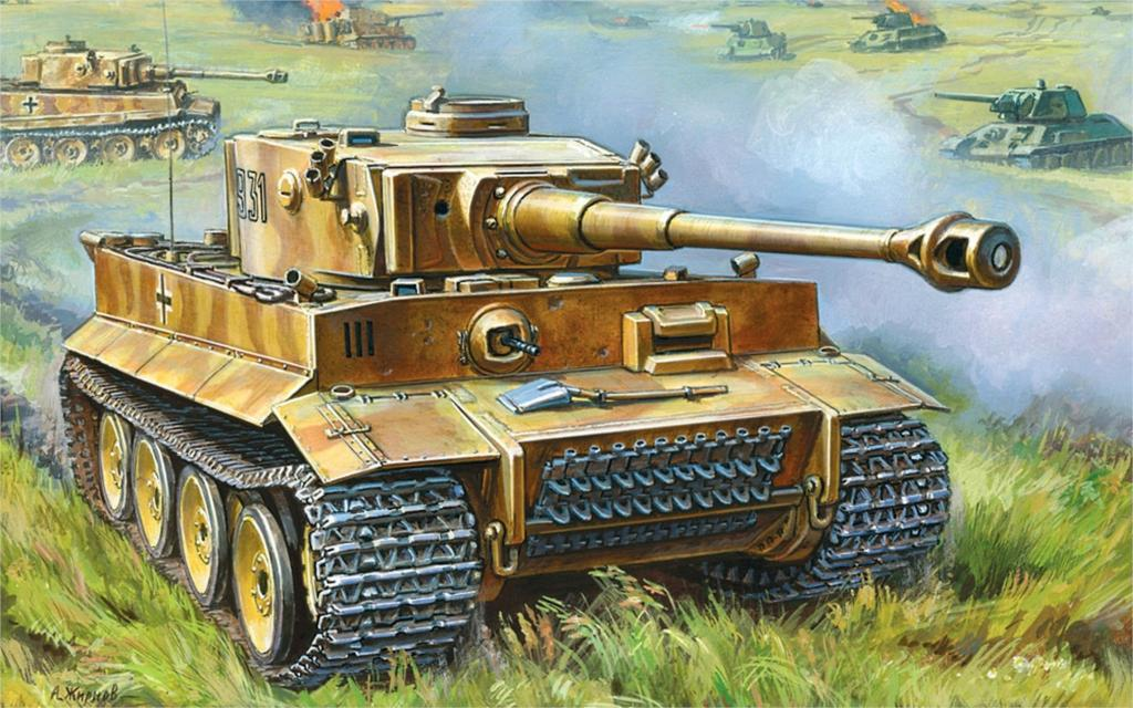 art field fight tank Panzerkampfwagen VI Tiger I Ausf E