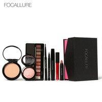 8Pcs Cosmetics FOCALLURE Makeup Set Powder Eye Makeup Eyebrow Pencil Volume Mascara Sexy Lipstick Blusher Tool