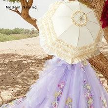 Vintage 1850's Princess Bridal Umbrellas 2018 Beige Victorian Lady Parasols Pink Wedding Umbrella Decorations ombrelle mariage