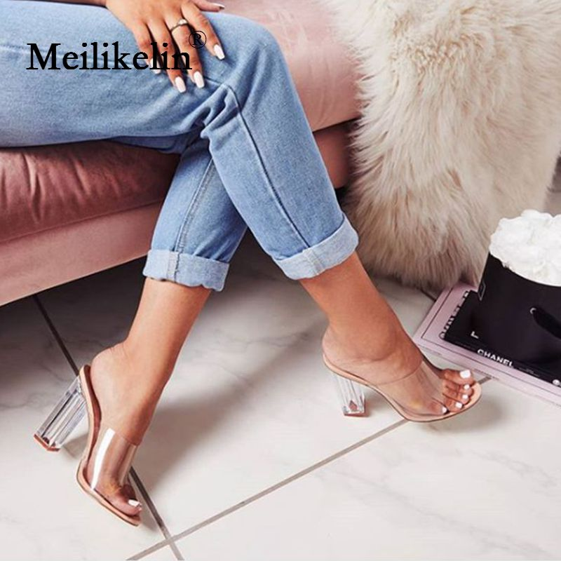 2019 fashion women's shoes Square high-heeled woman slippers transparent PVC Crystal heel shallow female shoes slides nude EUR42