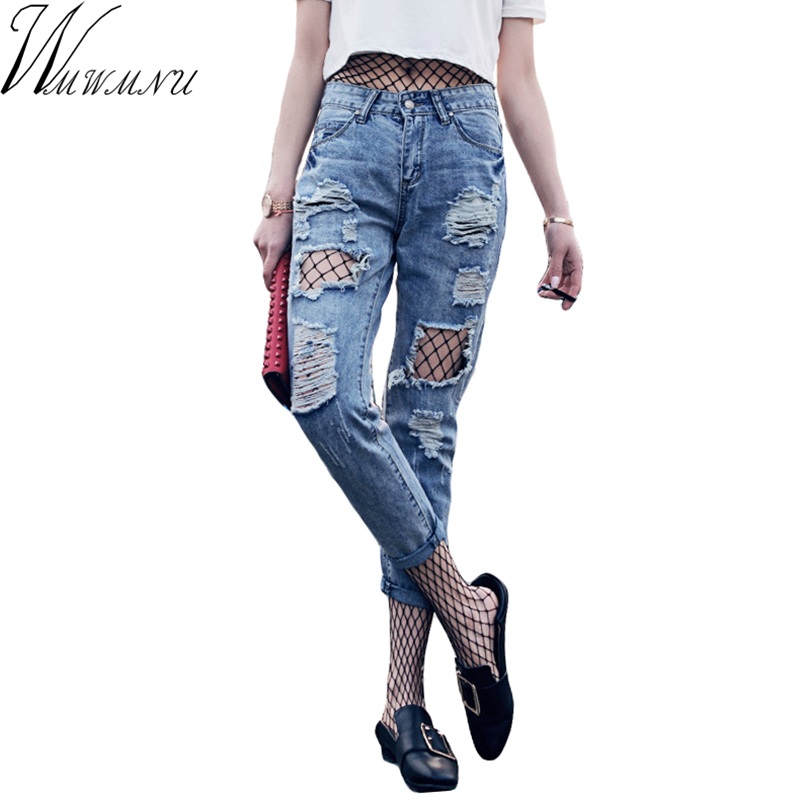 Wmwmnu Apparel fashion hole ripped jeans women pants Cool denim vintage straight jeans sexy Mid waist casual pants female ls251