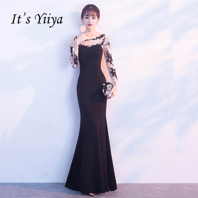 It s Yiiya Illusion Long Sleeves Sex Lace Up Elegant Evening Dresses Floor  Length Party Gown Evening Gowns Formal Dresses LX175 dbd754cd2a5a