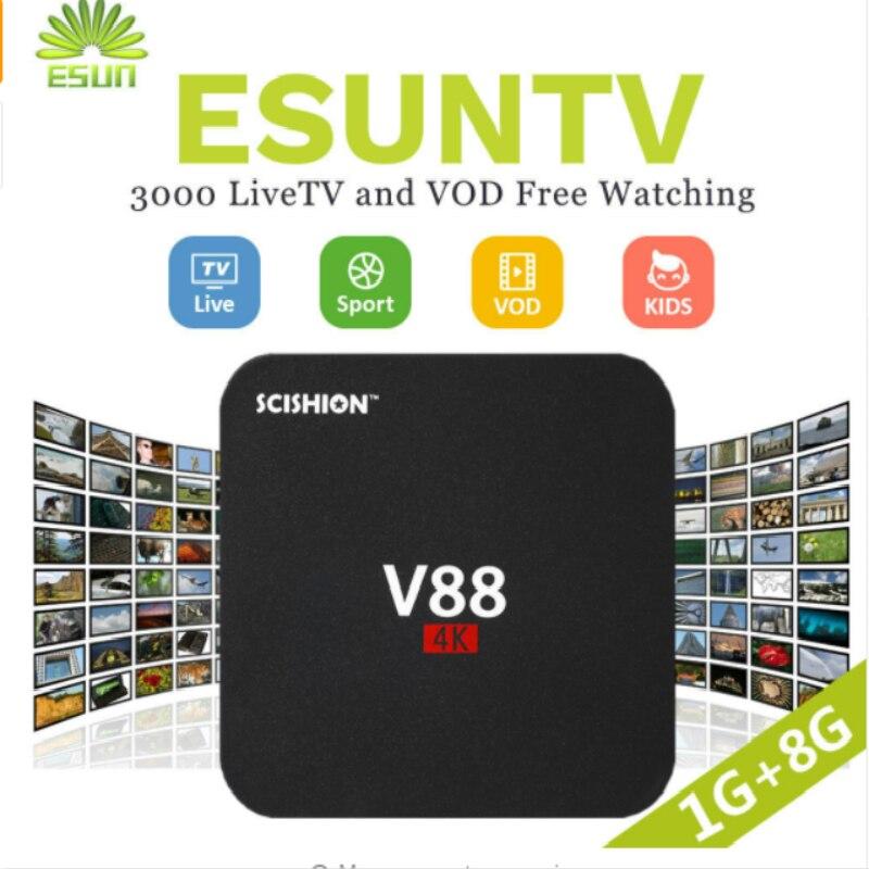 V88 Android TV Box Con 1 Anno ESUNTV configurato Arabo/Europa/Francese/Italia/Portogallo IPTV Set top box media player