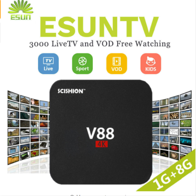 V88 Android TV Box With 1 Year ESUNTV configured Arabic/Europe/French/Italy/Portugal IPTV Set top box media playerV88 Android TV Box With 1 Year ESUNTV configured Arabic/Europe/French/Italy/Portugal IPTV Set top box media player