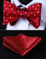 Classic Wedding BC806RS Red Beige Check Bowtie Men Silk Self Bow Tie handkerchief set