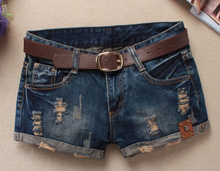 Hot 2017 Summer Shorts Women Vintage Club jeans Denim Shorts Sexy Hip Hop Skull Patch Plus Size Ripped Shorts Without Belt