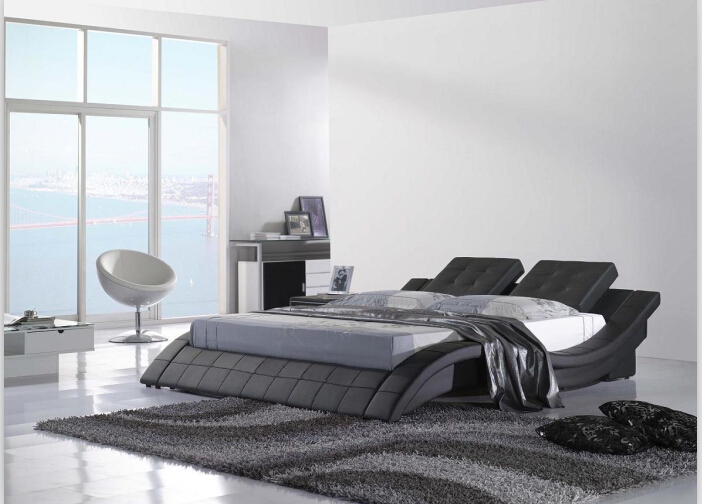 Moderne Schlafzimmer Möbel Aus Echtem Leder Bett Kingsize Bett