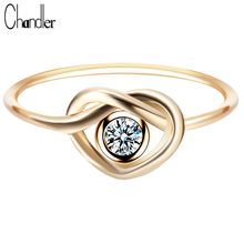 Chandler New Arrival Sliver Gold Knot Love Rings For Women CZ Heart Charms Statement Jewelry Wedding Finger Accessaries Luxury(China)