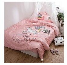 Princess Girl Unicorn 60S Long-Staple Cotton Satin Bedding Set Duvet Cover Bed Linen sheet Pillowcases Bedclothes King Queen