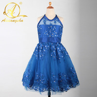 2018 Royal Blueสั้นชุดสาวดอกไม้Organzaบอลชุดสาวประกวดชุด
