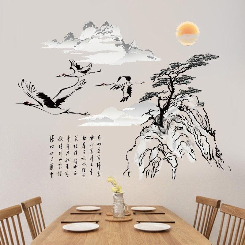 ᗐclasico Chino Tradicional Caligrafia Pintura Grua Montana Del