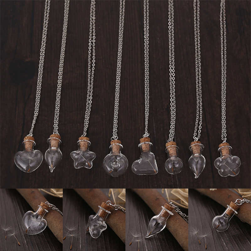 Miss Zoe Best Gift Wishing Bottle Pendant Necklace Real Dandelion Seeds collar collier colar Simple Jewelry Heart Star Flower