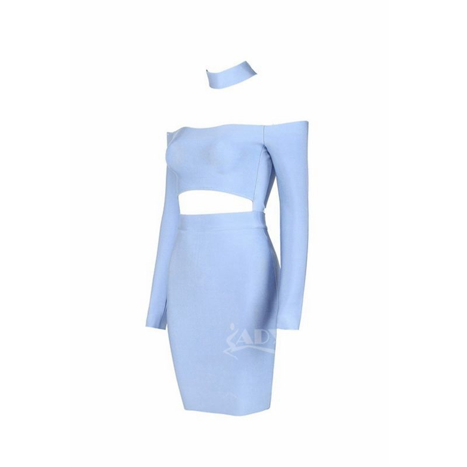 c08ac7390ff 2017 Summer Bandage Dress New pink light blue black Choker Halter Off the  Shoulder Long Sleeves Mini Celebrity Party Dress-in Dresses from Women's  Clothing ...