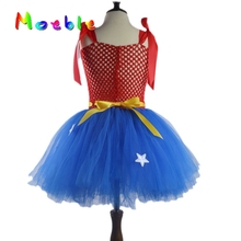 Superhero Wonder Woman Girl Tutu Dress Kids Cosplay Costume Christmas Halloween Dress Up Tutu Dresses Baby Photo Props