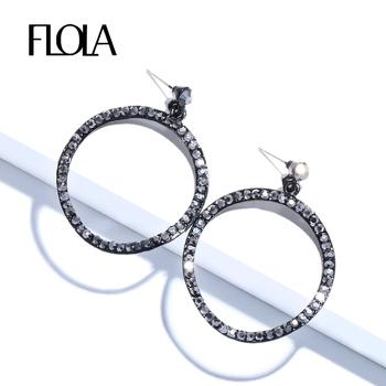 FLOLA Vintage Wave koło okrągłe metalowa obręcz kolczyki dla kobiety Trendy na przyjęcie wyrazista biżuteria czarny kryształowy kolczyk ersm46 tanie i dobre opinie Ze stopu cynku 80mm*60mm Kolczyki w kształcie kółek ROUND KRYSZTAŁ moda big earrings Crystal rhinestone earrings dangle earrings
