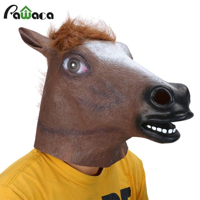 Полная Голова маска голова лошади Маска Жуткий мех грива латексная Реалистичная сумасшедшая Резина Супер жуткая вечеринка Хэллоуин костюм животное маска
