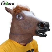 Полный маска голова лошади Маска Жуткий мех Мане латекс Реалистичная Сумасшедший резиновая супер жуткий костюм для Хеллоуина маски животных