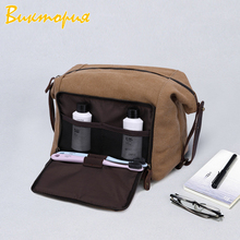 CHARAS brand men's Cosmetic bag womens high quality canvas Clutch Multifunction Cowhide cosmetic Storage travel