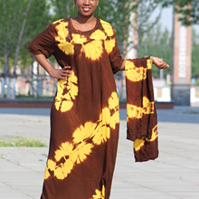 2019 New African Tie dyeing kaftan Hot drilling Yellow brown Big oversize Dress