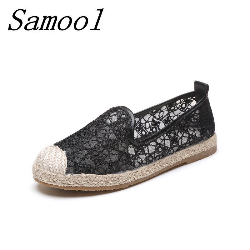 Fashion Women's Summer Fisherman straw shoes White Black Loafers Casual Women Flats Shoes breathable hollow Espadrilles Shoe jx3 women s shoes net surface hollow out casual womens shoe 2017 summer new breathable thick soled white fashion woman women shoes