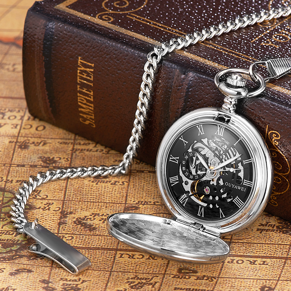 Image 2 - NEW Hot Brand OUYAWEI Brand Mechanical Hand Wind Pocket Watch Silver Black Stainless Steel Case Water Resistant Hombre Watch Menpocket watchpocket watches brandspocket watch silver -