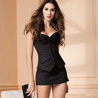 New Arrival Women Office Vertical Stripes Corset Set Bodyshaper Skirt Bustier with G-string