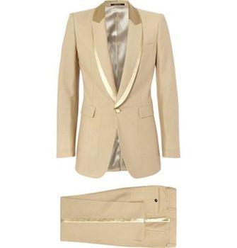 Latest Coat Pant Designs Tan Khaki Men Suit Groom Wedding Suits Prom Blazer Slim Fit 2 Piece Custom Groom Tuxedo Terno Masculino