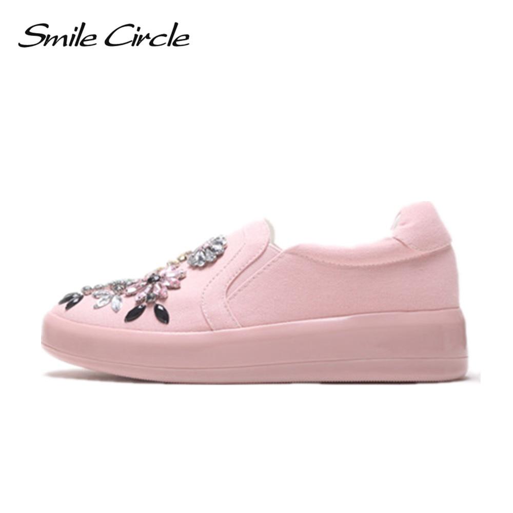Smile Ciecle 2017 Autumn Women Casual Shoes Fashion Rhinestones Canvas Shoes Women Platform Shoes