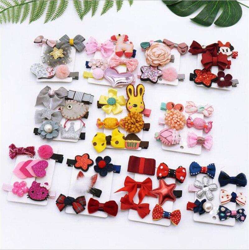 5 pcs/set Kawaii Princess Girls Hair Clips Bows Hairpins For Girls Kids Hair Accessories Barrettes Hairclip Headdress   Headwear
