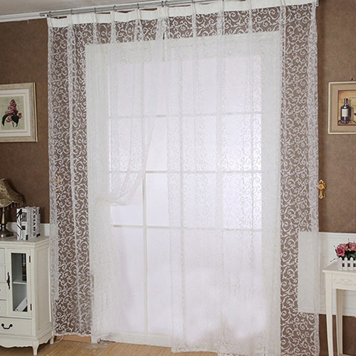 White Window Panel Drape Curtains Curtain Door Room Divider Sheer Voile Curtain