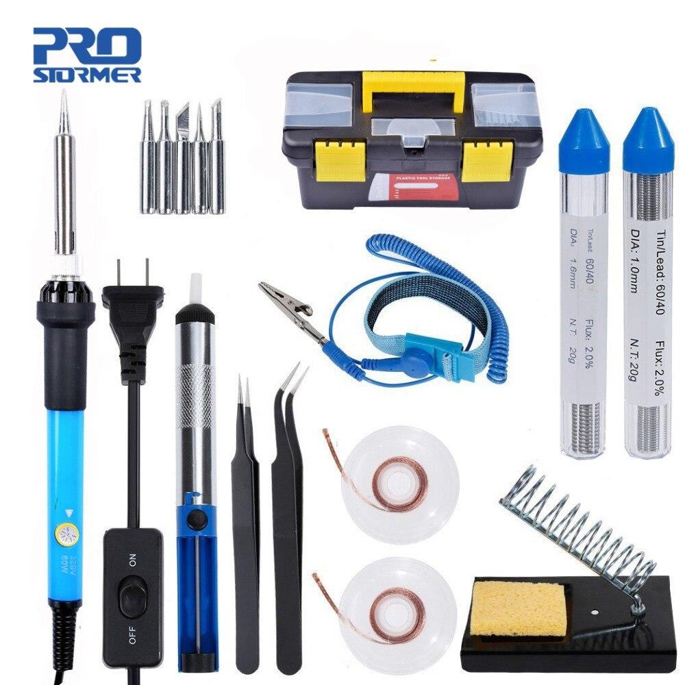 PROSTORMER 60W Soldering Iron Toolbox 110V US/220V EU Adjustable Temperature Kit Soldering Board Set Repair Tool