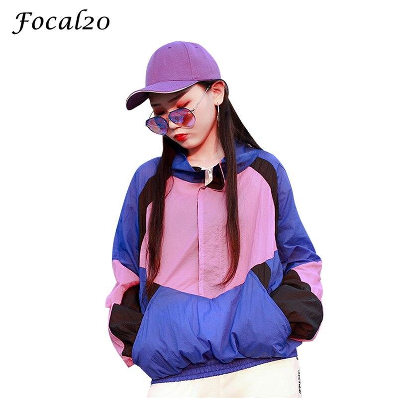 Focal20 Streetwear Hit Color Patchwork Women Jacket Pockets Color Block Zipper Turtleneck Jacket Thin Coat Outwear 1