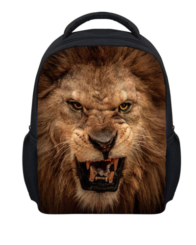 a82089ea43 Cool 3D Animal Lion Head Printing Children Backpacks for School Funny  Animal Child Baby Kids Bagpack