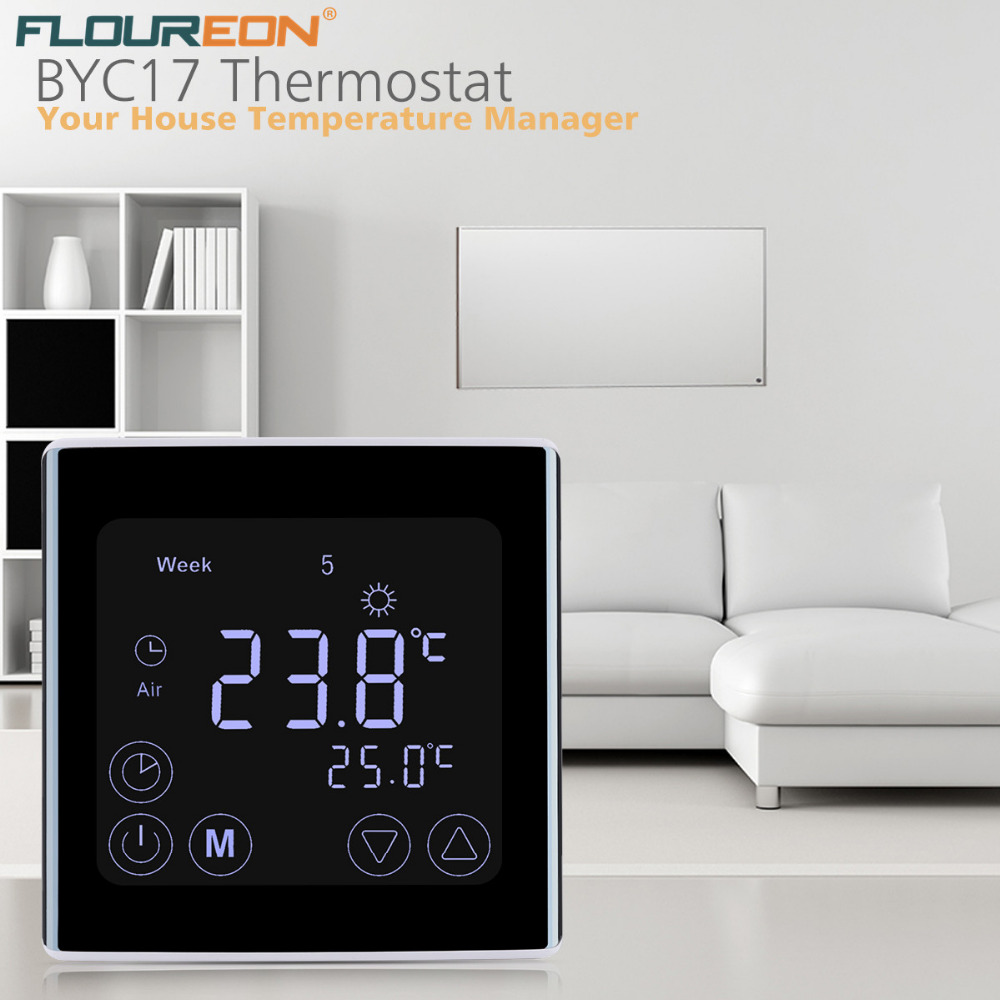 US $20 58 35% OFF|Floureon Underfloor Heating Thermostat Digital Touch  Screen Room Temperature Controller Weekly Programmable Thermostats-in