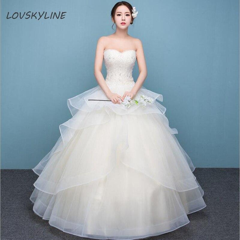 New Vestido De Noiva Ivory Light champagne Lace Wedding Dress 2018 Tiered Beads Plus Size Customized