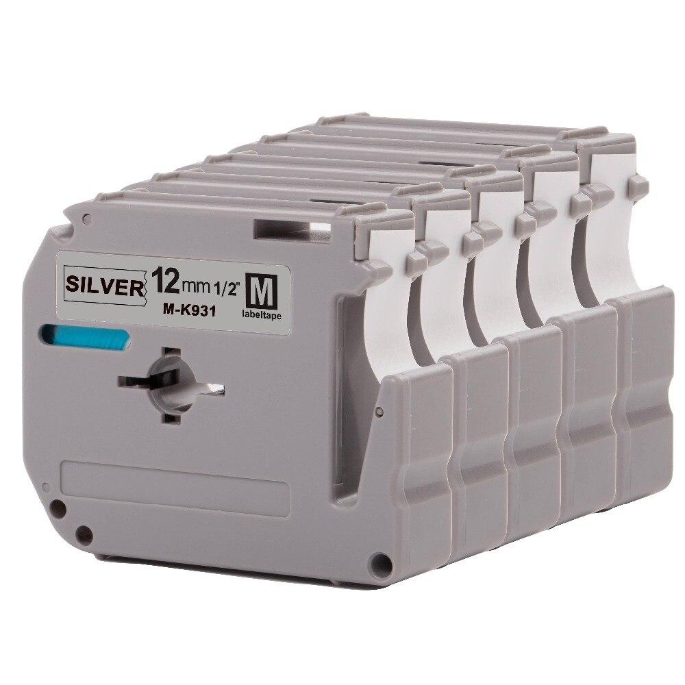 Printer Supplies Apprehensive Cidy 5pcs Mk931 Mk 931 M-k931 Black On Silver For Pt-65 Pt-70 Pt-80 Pt-85 Pt-90 Pt-m95 Pt-100 Pt-110 Pt-45m Label Printer
