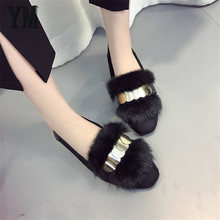Black Casual Suede Ballet Flats Oxfords shoes Winter Round Metal Pointed Toe Fur Metal Slip-On dress dancing shoes Mujer 35-40
