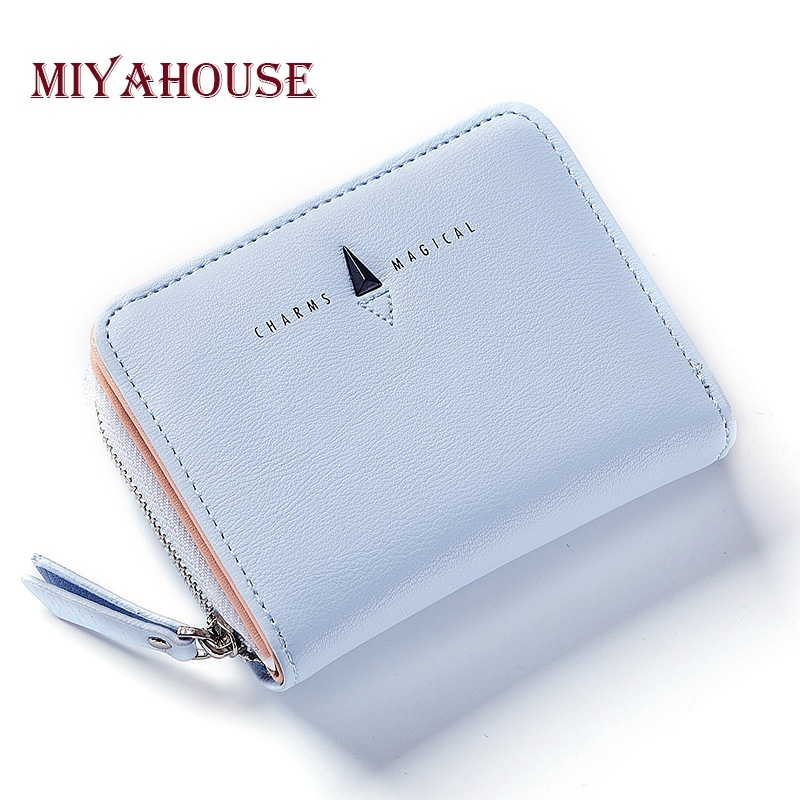 Miyahouse Fresh Style Women Mini Wallets Female Zipper Coin Purses PU Leather Lady Card Holder Wallets High Capacity Folds Purse