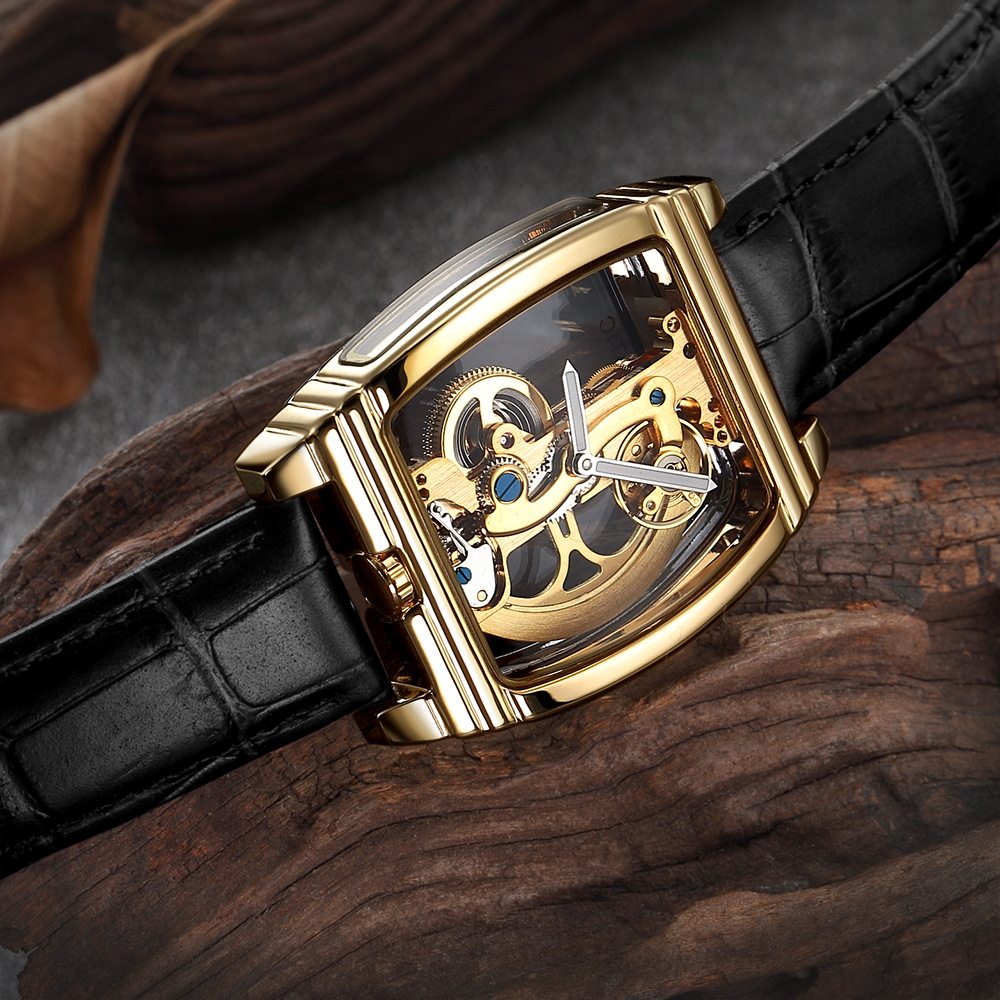 Luxury Transparent Single Bridge Mechanical Watch Men Top Brand SHENHUA Gold Wrist Watch Automatic Self Winding