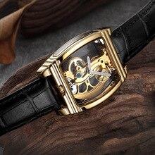 лучшая цена Luxury Transparent Single Bridge Mechanical Watch Men Top Brand SHENHUA Gold Wrist Watch Automatic Self Winding Dress Timepieces