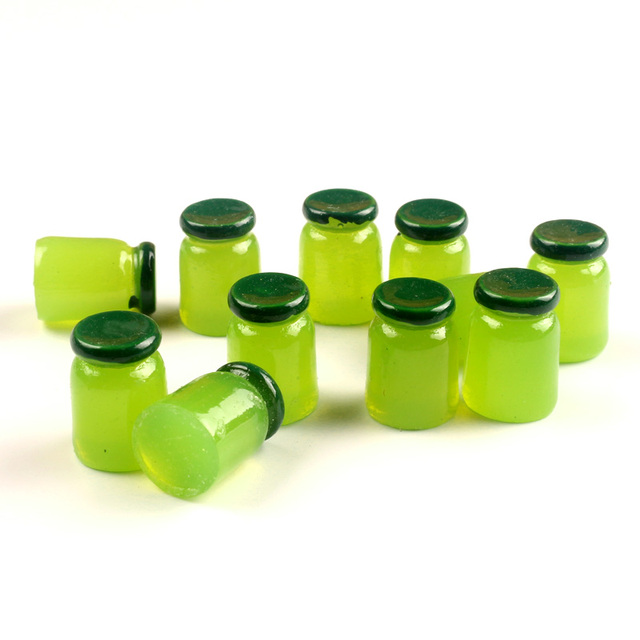 20-8Pcs 3D Resin Bottle Cabochon Crafts Embellishments For Fairy Garden Figurines & Miniatures Home Decoration Accessories Diy 5