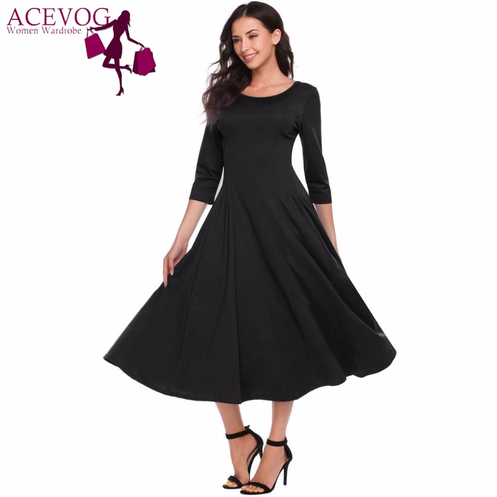 Acevog Casual A line Fit and Flare Midi Women Dress 3/4 ...