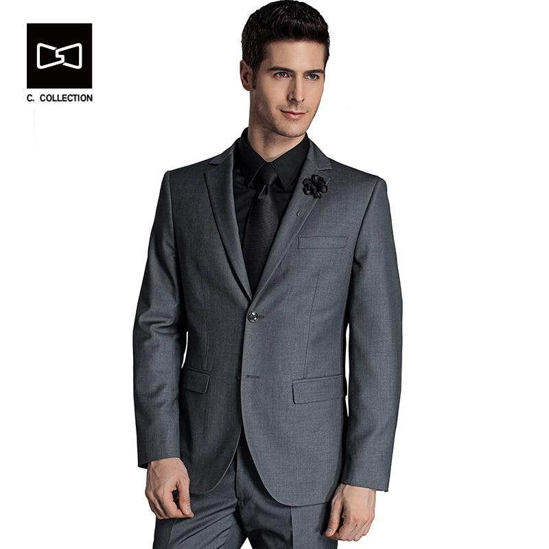 2019 hommes costume d'affaires Slim fit classique homme costumes Blazers costume de luxe hommes deux boutons 2 pièces (costume veste + pantalon)