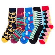 PEONFLY Combed Cotton Men s Socks Harajuku Colorful Happy Funny Submarine Long Warm Dress Socks for