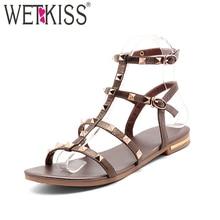 WETKISS 2019 Summer Genuine Leather Sandals Rivet Gladiator Ladies Shoe