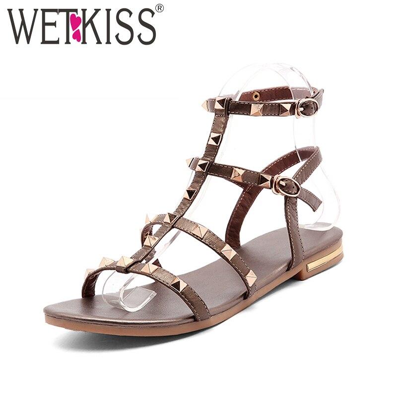 WETKISS 2019 Summer Genuine Leather Sandals Rivet Gladiator Ladies Shoes Fashion Women Flat Sandals Studded Girl Footwear Buckle
