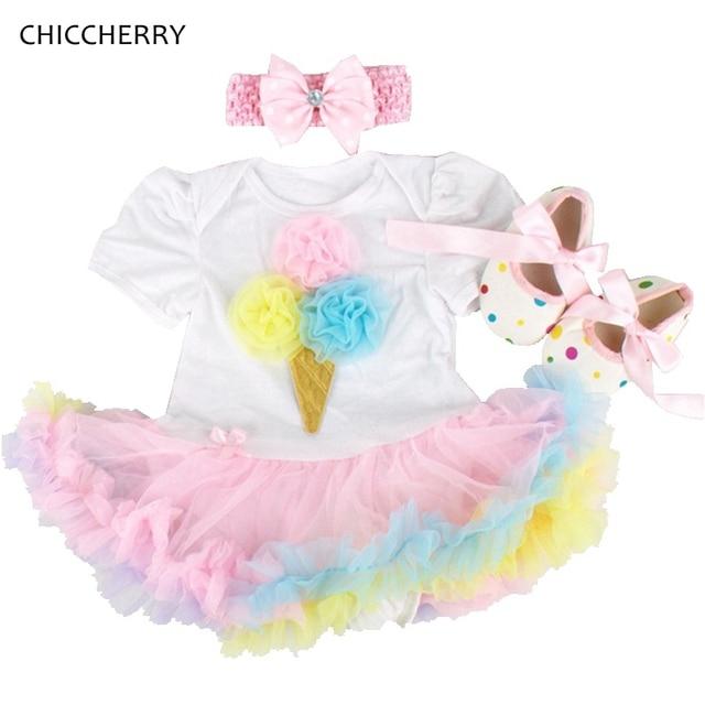 2eae16073596 China Baby Girl Clothes Icecream Toddler Lace Romper Dress Infant Tutu  Headband   Cribs Shoes Set